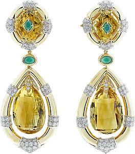 Van Cleef & Arpels  Earrings, yellow gold, platinum, round diamonds, green agate, kite-cut citrines and 2 briolette-cut citrines, white gold.  Yellow gold, platinum, round diamonds, green agate, kite-cut citrines and 2 briolette-cut citrines, white gold.