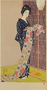 Hashiguchi Goyô (1880-1921) Young woman in a summer kimono  woodblock print, mica ground. Galerie Tanakaya