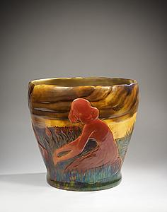 Zsolnay Manufacture glazed ceramic vase decorated with a frieze of red enamel, kneeling women picking tulips in a bucolic landscape with iridescent colors and stormy sky, as a nabi landscape at Galerie Mathivet.