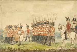 Drawing of County of Dublin Militia reviewed by their Colonel Lord Meath  c1870 (300-500).