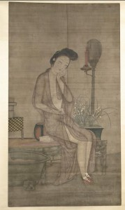 Meiren at her bath, early 19th century scroll.