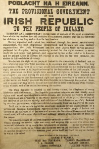 The Proclamation of Independence of the Irish Republic Printed in Dublin, 23rd April 1916 by Christopher Brady, Michael Molloy and Liam O'Brien for the Provisional Government of the Irish Republic (100.000-150,000).