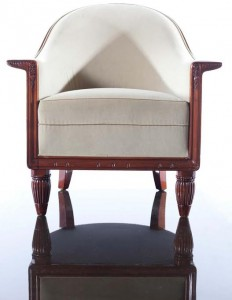 ONE OF A PAIR OF ART DECO MAHOGANY AND VELVET FAUTEUILS, by Georges De Bardyere, c.1925 (8,000-12,000).