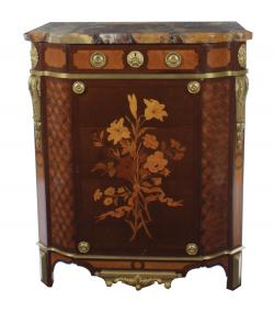 One of a pair of c1900 signed marquetry commodes by Francois Linke at Sheppards in Durrow.