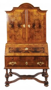 Walnut bureau bookcase c1680 (3,000-4,000).