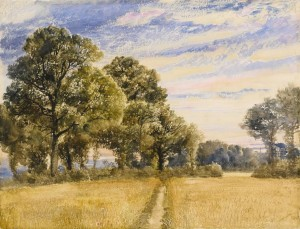 William Turner of Oxford - A Cornfield at Sunrise - watercolour (£3,000-5,000).
