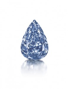 THE BLUE - a fancy vivid blue pear-shaped diamond, weighing approximately 13.22 carats. Courtesy Christie's Images Ltd., 2014.