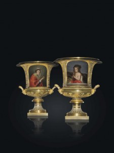 A PAIR OF RARE AND LARGE TWO-HANDLED PORCELAIN VASES By the Imperial Porcelain Factory, St Petersburg, Period of Nicholas I, 1840 (£250,000-350,000)