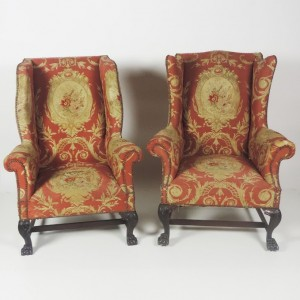 Two 19th century wing back  armchairs by Butler of Dublin  estimated (l) 650-900 and (r) at 800-1,200.