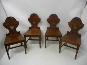 A set of four c1820 Cork Georgian hall chairs (1,000-1,500).