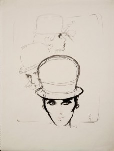Rene Gruau (1909 - 2004) Hat for Jean Barthet for AD Design 1960, Ink. (£8,000).