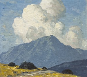 Paul Henry RHA (1876-1958) TURF STACKS WITH MOUNTAIN BEYOND, c.1940 (15,000-20,000)