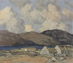 Paul Henry - Thatched cottages with mountains beyond (£25,000-35,000). Courtesy Christie's Images Ltd., 2014.