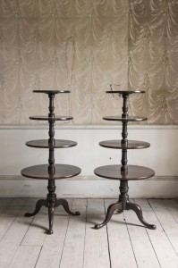 A pair of George III Irish dumb waiters c1780 at the stand of antique dealer and interior consultant Edward Hurst. (Provenance - Lord Kilmaine, Gaulstown House, Co. Westmeath).
