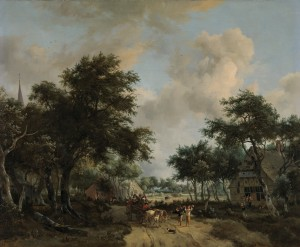 Meindert Hobbema - Wooded Landscape with Merrymakers in a Cart.