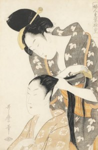 Kitagawa Utamaro (1753?-1806)  Hairdresser, from the series Fujin Twelve Types of Women's Handicraft, circa 1798–99 (£7,000-9,000).  Courtesy, Christie's Images Ltd., 2014.