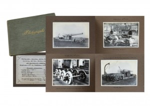 Album of mounted photographs showing the daily progress of the building of a 54 ton trolley wagon for a rail gun at Gateshead Works dated September 13, 1914.