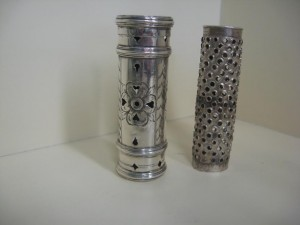 A c1690 silver nutmeg grater.