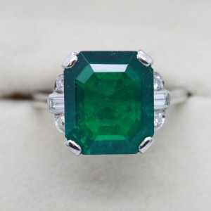 Emerald and diamond ring set with 8.5 carat Colombian emerald c1960.