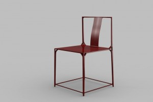 One of a pair of Da Tian Di Bo Luo lacquered carbon fibre chairs