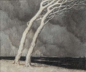 Paul Henry (1876-1958) The Storm c.1898-9 Charcoal on paper (8,000-12,000).