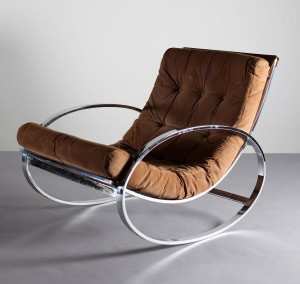 A 1970's chrome rocking chair by Renato Zevi (400-600).