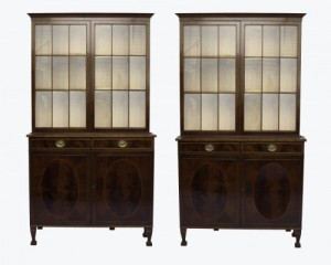 Niall Mullen Antiques: Pair of Irish inlaid mahogany book cases by James Hicks : Signed : Date 1930 : €28,500.