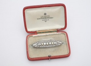 A rare Edwardian natural pearl and diamond brooch in original case, Swedish, maker Nordiska Compania, signed, circa 1910 at Courtville Antiques