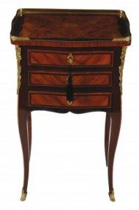 French 18th Century Period Kingwood and Marquetry three drawer Pedestal (6,000-9,000).