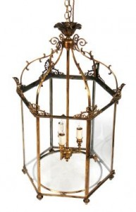 Large George III Period Dublin Brass Framed Hall Lantern (2,500-3,500)