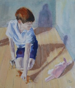 Boy Playing by Patricia Carr.