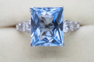 An aquamarine and diamond ring priced 5,750 at Weldons.