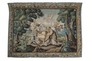 AN EARLY 18TH CENTURY AUBUSSON TAPESTRY, depicting the Rape of Europa (15,000-20,000)