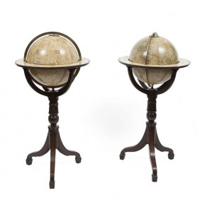 PAIR OF ENGLISH 15-INCH LIBRARY GLOBES BY NEWTON & SON, LONDON, THE TERRESTRIAL DATED 1841, THE CELESTIAL DATED 1840 (15,000-25,000)