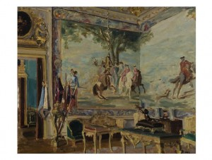 Sir Winston Spencer Churchill, Tapestries at Blenheim, circa 1930 Oil on canvas, 25 by 30in. Est. £200,000-300,000 Copyright © Churchill Heritage Ltd.