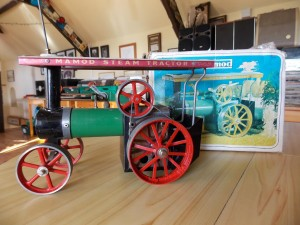 A Mamod Steam Tractor in its original box from dealer Alex Chamberlain