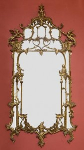 An Irish carved gilt wood mirror in the Chinese Chippendale style (2,000-3,000).