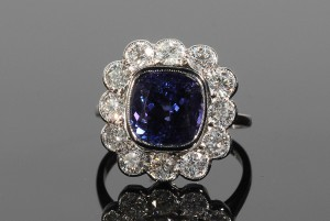 A diamond and tanzanite cluster ring (4,000-5,000).