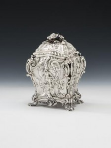 George III silver tea caddy at Mary Cook Antiques.