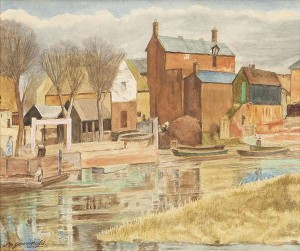 May Guinness RHA (1863-1955) - Canal Side Houses, watercolour (800-1,200).