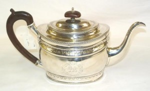A c1800 Cork silver teapot by Augustus Whelpley.
