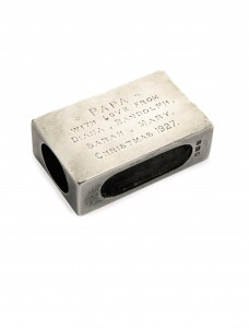 This inscribed silver matchbox holder by Padgett and Braham Ltd. attracted more bids than any other lot at Sotheby's in 2014.