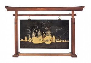 A lacquered plaque depicting the Battle of Dogger Bank (starting bid £12,000).
