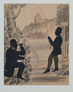 Angling on the Lee, c.1850, pen and ink on paper, 31.5 x 25.3cm, Stephen O'Driscoll, Collection of Crawford Art Gallery.