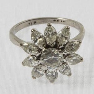 A diamond cluster ring (2,800-3,500).