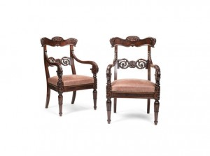 A pair of Irish George IV mahogany open armchairs.