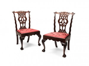 A pair of Irish George II side chairs.