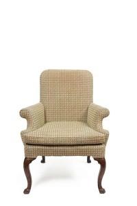 A George II walnut framed elbow chair (1,000-2,000).