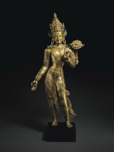 A large and important gilt bronze figure of Avalokiteshvara, Nepal, 13th century ($2-3 million) Courtesy, Christie's Images Ltd., 2015