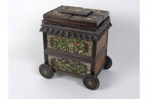 An unusual 19th century Chinese hardwood table spice carriage.